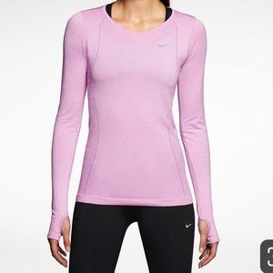 NWT Nike dri fit pink long sleeve running top